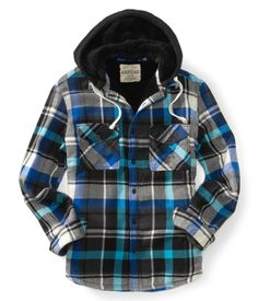 Long Sleeve Hooded Plaid Woven Shirt - Aéropostale®