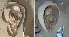 GRAVE CHOICE Ancient Egyptians buried children, shown here, and adults in pots. The hollow vessels mirror the womb and may have symbolized a rebirth into the afterlife, scientists report. ~~ Béatrix Midant-Reynes/Institut Français d'Archéologie Orientale