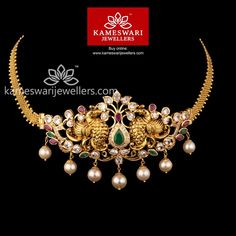 Stunning gold vanki designs by Kameswari Jewellers. Shop online from one of the foremost South India's traditional jewellers. Gold Mangalsutra Designs, Gold Earrings Designs, Necklace Designs, Diamond Mangalsutra, Gold Designs, Diamond Choker, Diamond Gemstone, Gold Temple Jewellery, Gold Jewellery Design