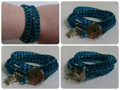 Blue/teal leather wrap.