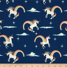 Riley Blake Novelty Unicorn Main Navy from @fabricdotcom  Designed by Doohikey Designs for Riley Blake, this cotton print fabric is perfect for quilting and apparel. Colors include orange, light yellow, white, shades of grey, shades of pink, shades of aqua, and shades of blue.