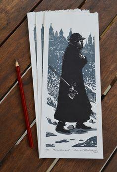 "Ramon Rodrigues  ""Raskólnikov"" Xilogravura/Woodcut 11 x 29 cm"