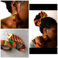 boucle d'oreille tissu ghana multicolore