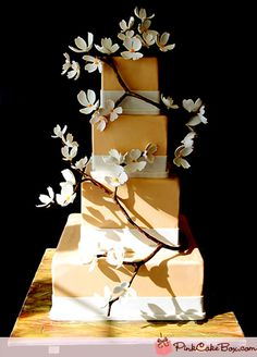 4 Tier Dogwood Wedding Cake by Pink Cake Box