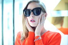 carolina engman, fashionsquad, dagmar neon sweater, celine audrey sunglasses, H rings