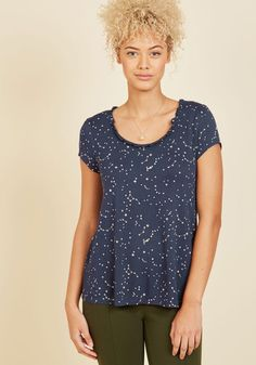 Confidence and enthusiasm are commonplace for you, and this navy top is an adorable visual aid for such positivity! Part of our ModCloth namesake label, this comfy style, made of a soft crepe jersey, exhibits a ruffled scoop neckline and white, starry sky print that arouse smiles in onlookers galore.