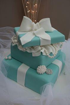 2 Tiered Tiffany Cake - Absolutely Beautiful. I think it would break my break to cut!