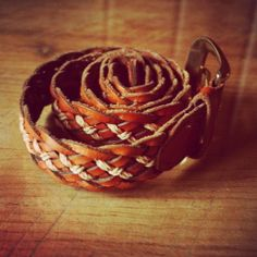 Vintage Woven Leather Belt by SINGEDandFRAYED on Etsy,