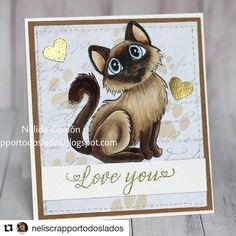 "#Repost @neliscrapportodoslados ! I have not posted in a while, but here is a adorable card by @neliscrapportodoslados using one of my stamps! This card is so beautiful, i love it!❤️ ・・・ En @colouringinscrapland  el tema opcional de este mes es ""Love is in the air"" y como patrocinador #charliesstamps que ofrece al ganador del sorteo un vale de 15$ para su tienda de Etsy. ¿ Os gusta lindo gatito?  The current challenge at @colouringinscrapland with the optional topic ""love is in the air"" and… My Stamp, My Images, Stamps, Challenges, Teddy Bear, My Love, Cards, Animals, Etsy"