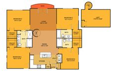D1 floorplan (4 bed, 3 bath. 1691 sq. ft.) at Villas on Guadalupe, Austin, TX