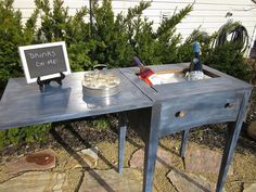 DIY:: Thrift Sewing Machine Cabinet turned into a Mini Bar or Drink Cart