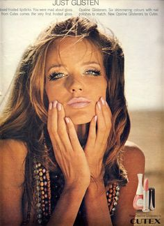 Veruschka Ad for Cutex Opaline frosted gloss lipstick and matching nail varnish. summer style and makeup. Vintage Nails, Vintage Makeup, Vintage Beauty, Retro Makeup, Beauty Ad, Beauty Makeup, Hair Makeup, Hair Beauty, Iconic Beauty
