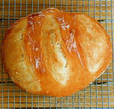 Artisan Bread In Five Minutes A Day, Seriously | alexandra's kitchen  New version- bakes on a stone- I think my yeast might need to be replaced, but I halved the recipe and this loaf was still kind of small.  The taste is good, but not as good as the one in the dutch oven.  This is a nice alternative if you don't have a dutch oven.