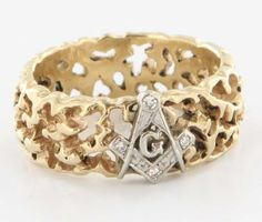 Vintage Mens Masonic Lodge 14 Karat Yellow Gold Diamond Nugget Band Ring Fraternal 8 $595