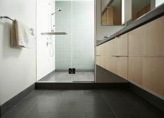 Black ceramic tiles for bathroom flooring ideas Shower Drain, Shower Base, Tub Shower Combo, Shower Enclosure, Shower Floor, Shower Tub, Shower Walls, Shower Curtains, Bathroom Floor Tiles