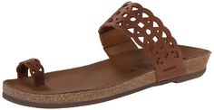 Mephisto Women's Valia Dress Sandal, Chestnut Scratch, 11 M US. Slide sandal featuring cutout leather straps at vamp and toe. Concealed elastic inset at instep.