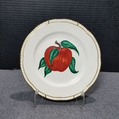 HOMER LAUGHLIN HAND PAINTED APPLE PLATE ARTIST SIGNED VICTORIA FLEMMING VINTAGE #HomerLaughlin #VICTORIAFLEMMING