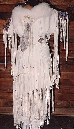 "American Native American Buckskin Dresses | SparrowHawk's dress ""Family Legacy"" Basic 2-hide dress"