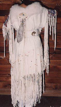 "American Native American Buckskin Dresses | SparrowHawk's dress ""Family Legacy"" Basic 2-hide dress"