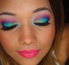 Neon makeup. Music festival makeup. Summer makeup. Thatgirlshaexo.