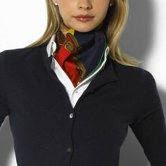 I love this office outfit. Although, when I did it once, they teased me for looking like a flight attendant. Ways To Wear A Scarf, How To Wear Scarves, Classic Outfits, Casual Outfits, Cute Outfits, Office Attire Women, Ralph Lauren Womens Clothing, Preppy Style, My Style