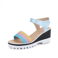 MayMeenth Women's Soft Material Hook-and-loop Open Toe High-Heels Two-Toned Wedges-Sandals ** You can get additional details at the image link.
