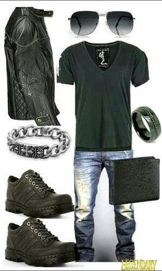Men's black edgy casual outfit. I like some pieces of this but not sure about everything in the ensemble