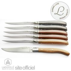 Coffret 6 couteaux Laguiole manche bois assortis