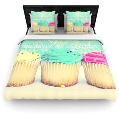 Life Is As Sweet As Cupcakes by Beth Engel Light Duvet Cover Size:... ($257) ❤ liked on Polyvore featuring home, bed & bath, bedding, duvet covers, food, california king duvet, fabric bedding, california king bed linens, king size duvet and polyester bedding