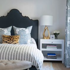Dark Blue Arched Headboard with Nailhead Trim, Transitional, Bedroom