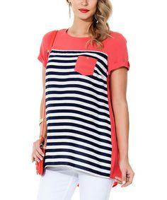 Navy Blue & Coral Stripe Maternity Hi-Low Top - Women by Ebru Maternity, $50 !!  #zulily #zulilyfinds