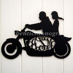 Check out Harley Bike Wooden Monogram - Unpainted Monogram - Home Decor Vine Script Letters - Initial Monogram - Door Hanger on monogramcustomart