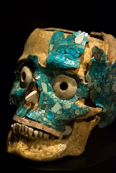 virtual-artifacts:  Human skulls decorated with a polychromic mosaics.  1. Aztec mosaic mask of Tezcatlipoca 2. Aztec mosaic skull 3. Aztec mosaic skull, 1300-1521 AD 4. Mixtec Skull from Monte Albán, 14th century AD