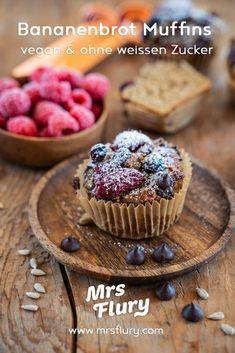 Gesunde Bananenbrot Muffins - vegan und proteinreich - Mrs Flury Superfood, Happy Vegan, Cupcakes, Snacks, Diy Food, Clean Eating, Healthy Recipes, Healthy Food, Breakfast