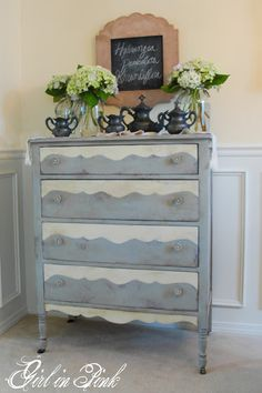 Mimicked curvy detail of dresser bottom onto the drawers using Chalk Paint® Decorative Paint by Annie Sloan