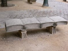 A literary bench for reading in Paris.