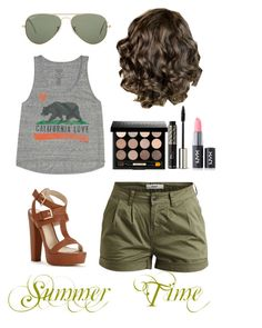 """""""Summer Time"""" by traveltheworld737 ❤ liked on Polyvore featuring Object Collectors Item, Billabong, Bobbi Brown Cosmetics, NYX, Christian Dior and Ray-Ban"""