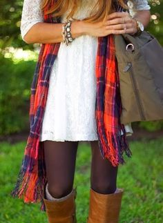 White Lace Dress With Long Boots With Tights And Check Scarf Fall Tights, Brown Tights, Brown Leggings, Brown Boots, Black Tights, Tunic Leggings, Black Shoes, Look Fashion, Fashion Outfits
