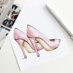 ✔ Cute Paintings Ideas For Mom Dress Drawing, Drawing Clothes, Shoe Drawing, Fashion Illustration Shoes, Fashion Illustrations, Fashion Design Drawings, Fashion Sketches, Mode Collage, Arte Fashion