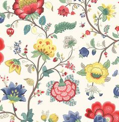 Epona Cream Floral Fantasy Wallpaper 341030 Brewster Wallcoverings Multi Colored Designer Wallpaper Floral & Plants Wallpaper Jacobean Floral Wallpaper, Easy to clean , Easy to wash, Easy to strip