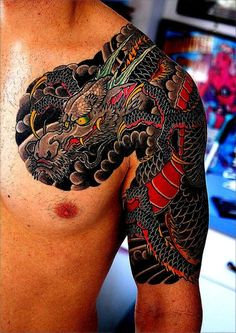 90 Japanese Dragon Tattoo Designs For Men - Manly Ink Ideas - Mens Unique Japanese Dragon Half Sleeve Tattoo Ideas - Japanese Tattoos For Men, Japanese Dragon Tattoos, Traditional Japanese Tattoos, Japanese Sleeve Tattoos, Tattoo Japanese, Dragon Tattoos For Men, Dragon Sleeve Tattoos, Dragon Tattoo Designs, Dot Tattoos