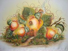 Pintura para pano de prato: casinha de caju - Maricélia Montanari Silva