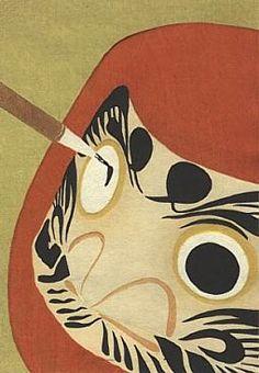 Een zeer populaire talisman voor goed geluk in het moderne Japan is het armloze, beenloze en ooglidloze poppetje, de Daruma-doll. Deze worden in tempels en op festivals verkocht. Ze zijn meestal gemaakt van papier-mashé, rood geverfd en stellen de mediterende Daruma voor. Wanneer men aan de zijkant van deze pop duwt, komt ze vanzelf weer terug recht. Daarom noemt met ze ook wel okiagari koboshi (tuimelpop).