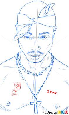 How to Draw Tupac Shakur, Famous Singers Arte Do Hip Hop, Hip Hop Art, Wie Zeichnet Man Graffiti, Tupac Tattoo, Cool Easy Drawings, Tupac Art, Hippie Painting, Rapper Art, Graffiti Characters