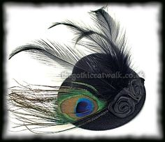 hat, peacock feathers and flowers this may be the one