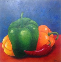 PEPPERS -ORIGINAL 12X12 oil Painting -