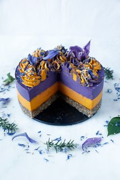 Delicious wholesome raw vegan cheesecake with beautiful colourful orange and blueberry layers. Raw Vegan Cheesecake, Cheesecake Recipes, Blueberry Cheesecake Bars, Raspberry Bars, Chocolate Hazelnut, Raspberry Chocolate, Heart Cakes, Wild Blueberries, Chocolate Hearts