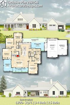 Architectural Designs Exclusive House Plan 28925JJ gives you 3-4 beds, 2.5 baths and over 1,800 sq. ft. of heated living space. Ready when you are. Where do YOU want to build? #28925JJ #adhouseplans #architecturaldesigns #houseplan #architecture #newhome #newconstruction #newhouse #homedesign #dreamhome #dreamhouse #homeplan #architecture #architect #housegoals #farmhouse #modernfarmhouse #countryhome #countryhouse #farmstead