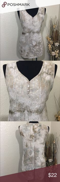 DressBarn Sleeveless Top Pretty top with tiny sequins throughout. Split shirttail in back, button half placket at neckline. Excellent pre-loved condition- worn twice. Earth tones. Dress Barn Tops