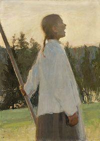 Ellen Thesleff , Echo , 1891 Oil on Canvas 24 x Finland .